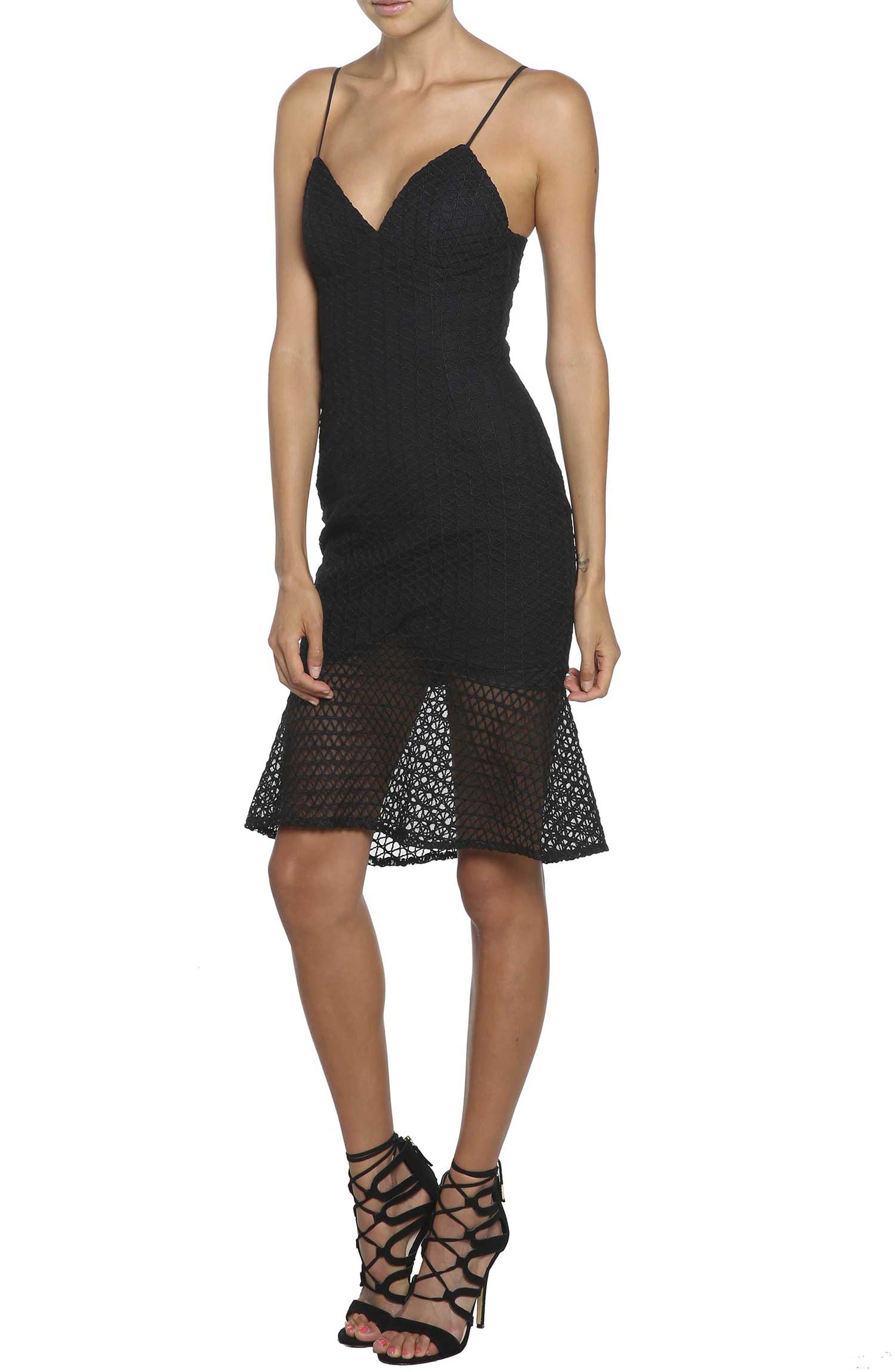 Bardot Neptune Fishtail Hem Lace Body-Con Dress, Black