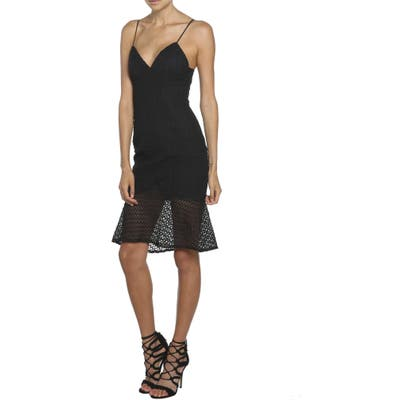 Bardot Neptune Fishtail Hem Lace Body-Con Dress, Black