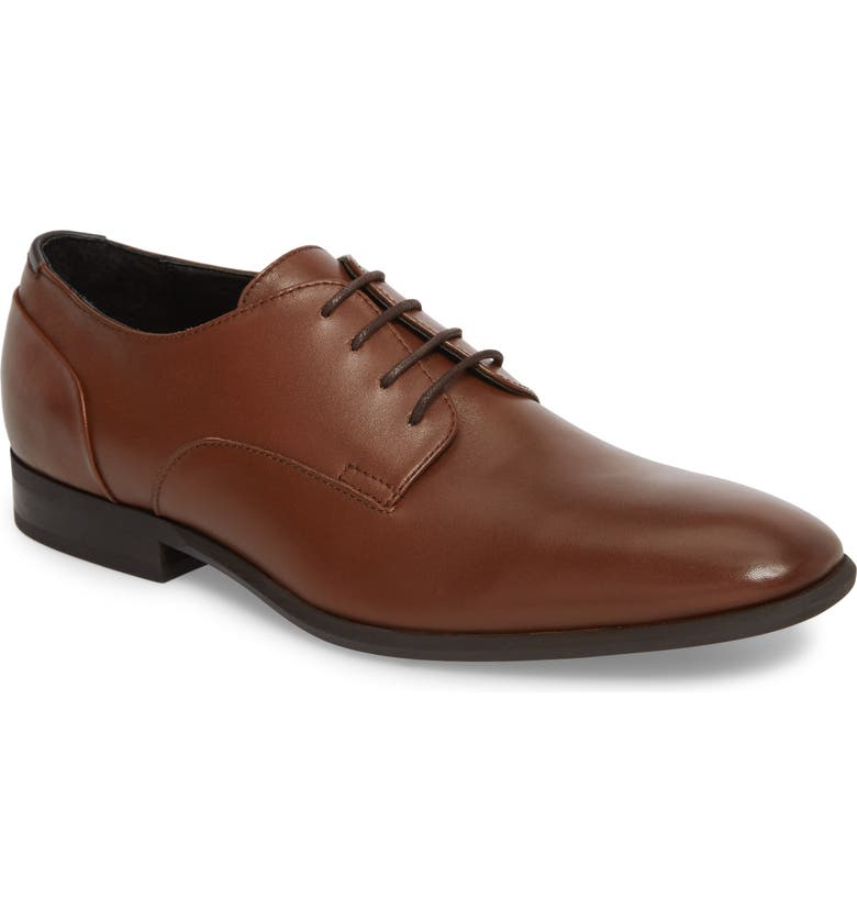 CALVIN KLEIN Lucca Plain Toe Derby, Main, color, TAN LEATHER