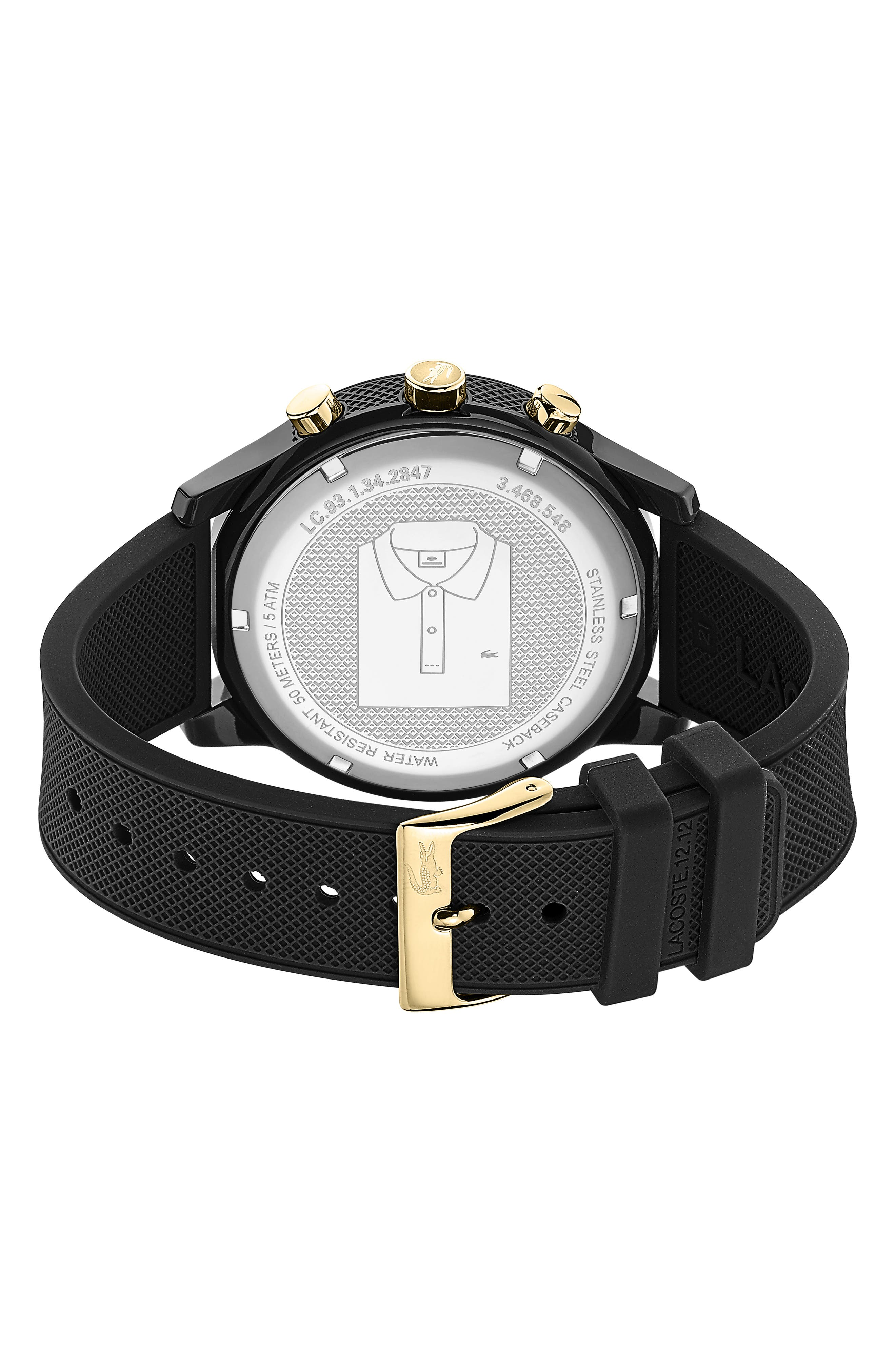 ,                             12.12 Chronograph Silicone Strap Watch, 44mm,                             Alternate thumbnail 2, color,                             BLACK
