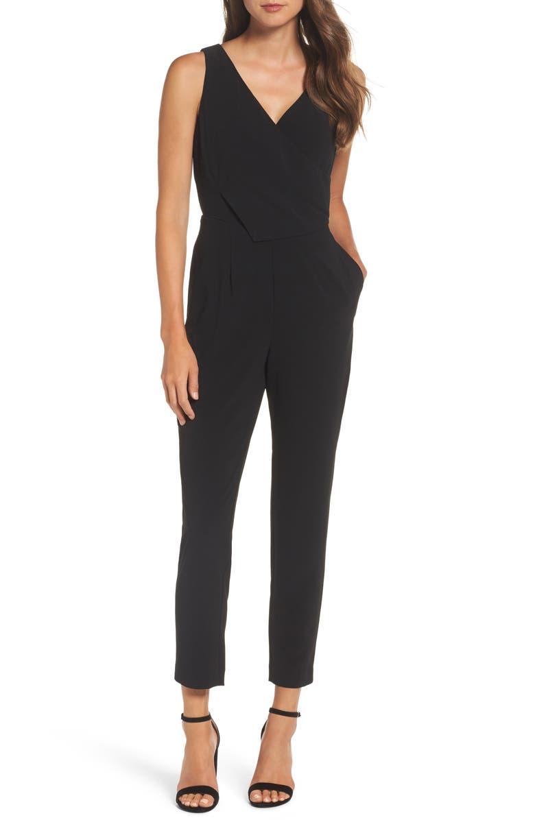 ALI & JAY Sleeveless Slim Leg Asymmetrical Jumpsuit, Main, color, BLACK