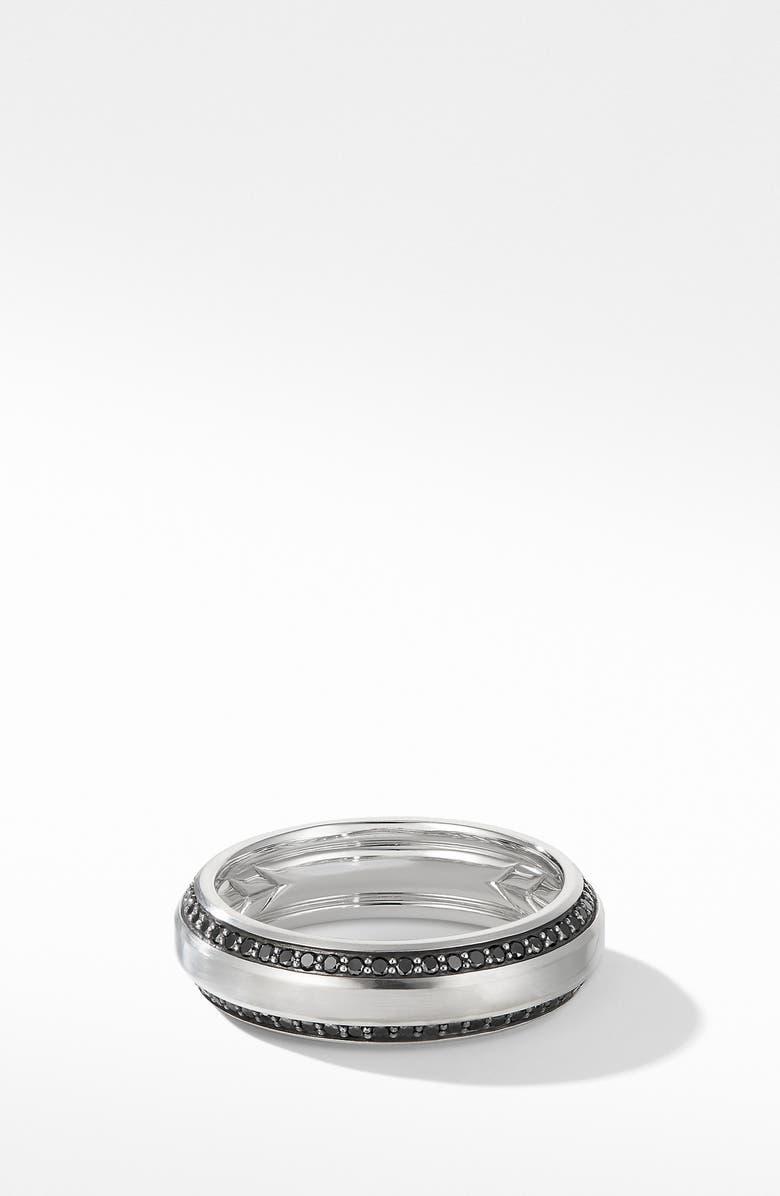 DAVID YURMAN Beveled Band Ring in 18K White Gold with Black Diamonds, Main, color, WHITE GOLD/ BLACK DIAMOND