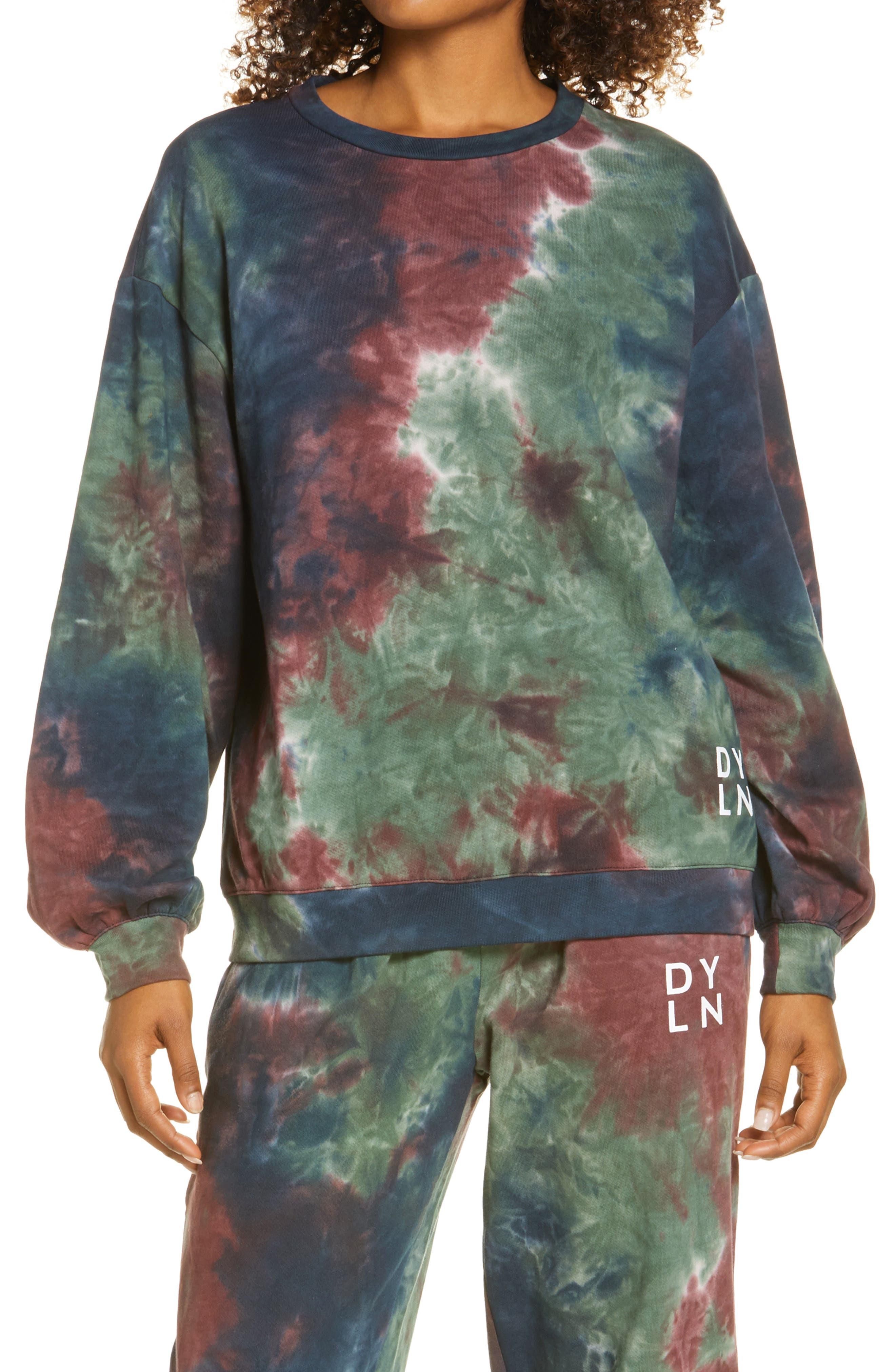 Women's By. dyln Xander Tie Dye Logo Cotton Blend Sweatshirt