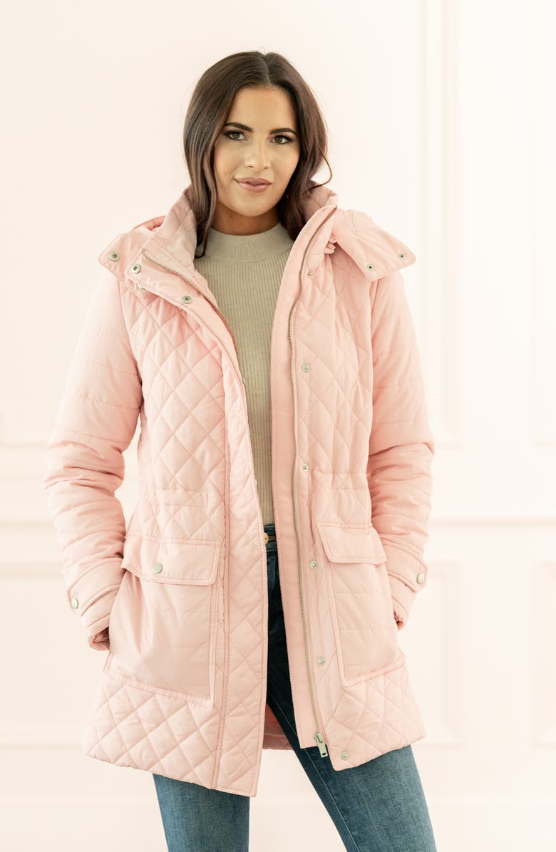 RACHEL PARCELL Quilted Hooded Parka, Main, color, PINK SILVER