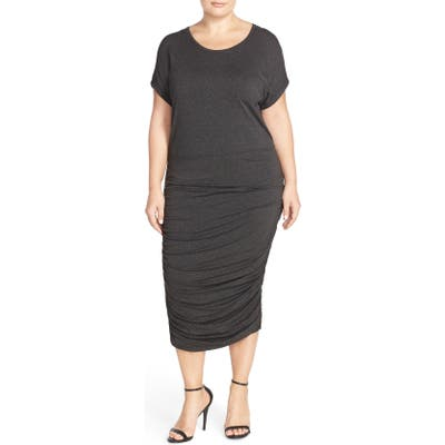 Plus Size Vince Camuto Side Ruched Jersey Midi Dress, Grey (Plus Size) (Nordstrom Exclusive)