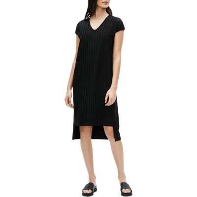 Petite Eileen Fisher V-Neck High/low Ribbed Shift Dress, Black
