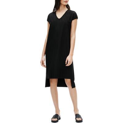 Petite Eileen Fisher V-Neck High/low Ribbed Shift Dress, Black