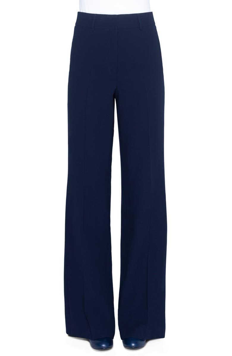 AKRIS High Waist Wide Leg Double Face Wool Pants, Main, color, NAVY