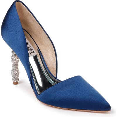 Badgley Mischka Emily Crystal Heel Pointed Toe Pump- Blue