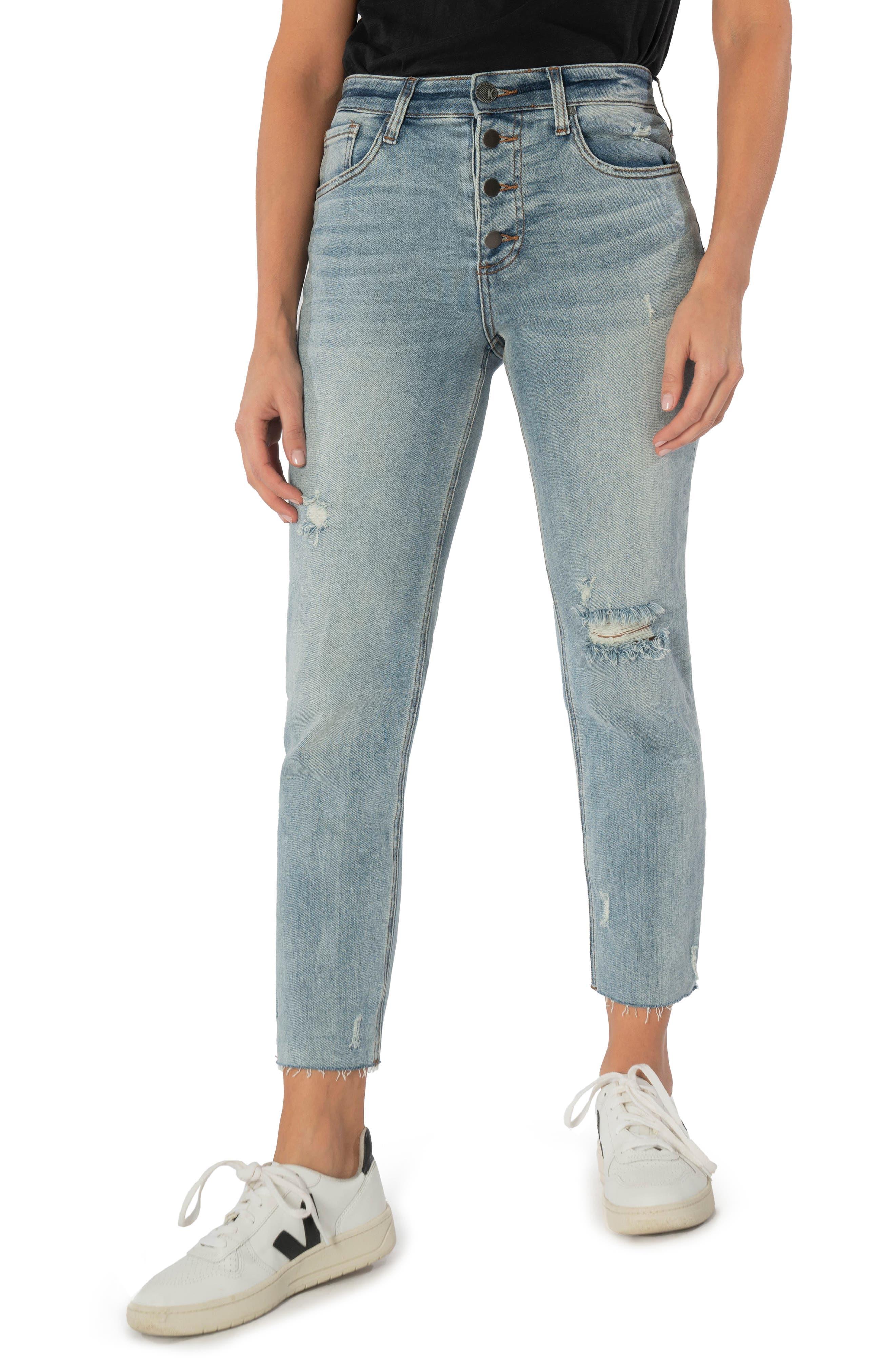 Rachael Raw Hem High Waist Cropped Mom Jeans