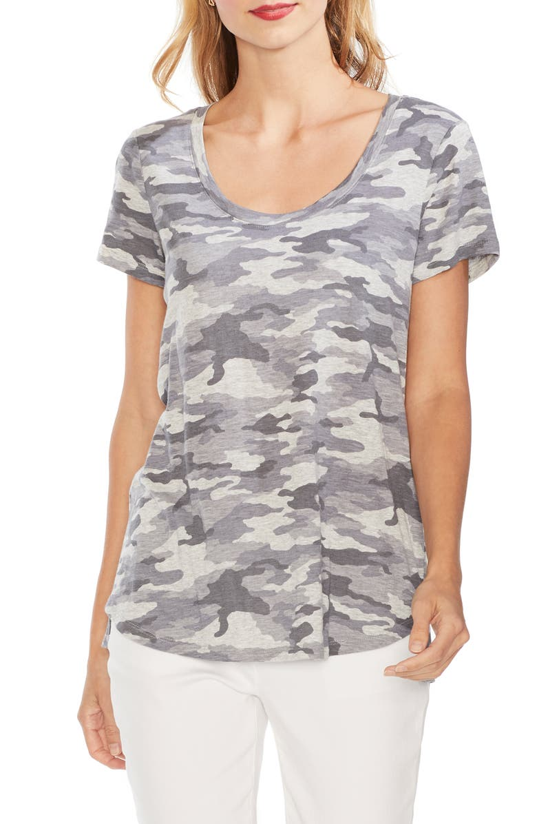 VINCE CAMUTO Avenue Print Tee, Main, color, SILVER HEATHER