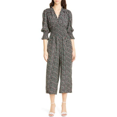 Rebecca Taylor Louisa Floral Long Sleeve Silk Jumpsuit, Black
