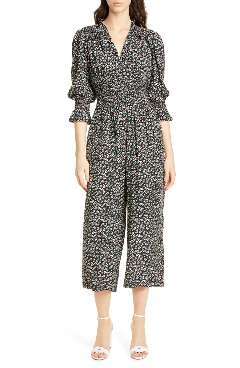 REBECCA TAYLOR Louisa Floral Long Sleeve Silk Jumpsuit, Main, color, BLACK COMBO