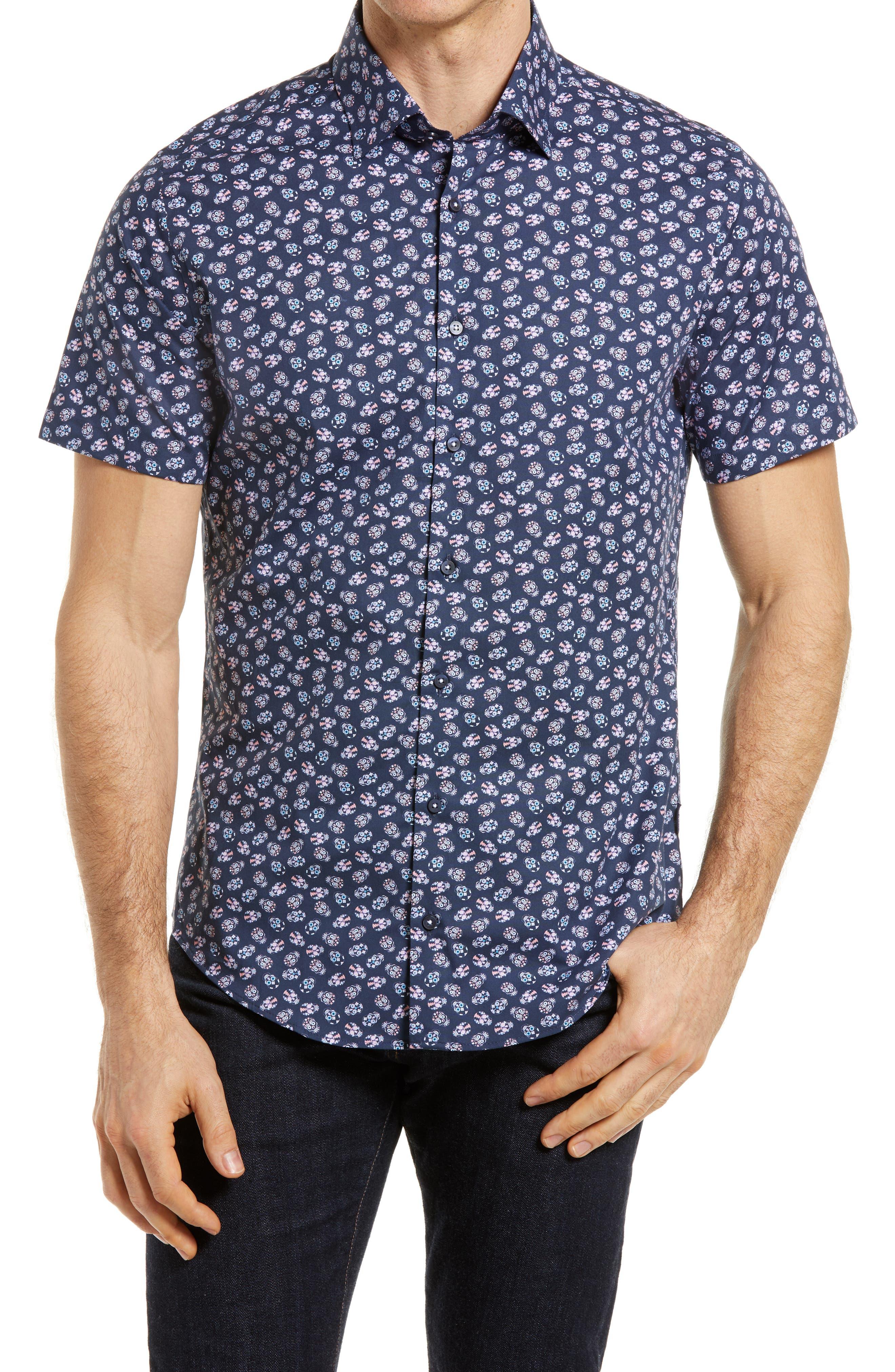 Stone Rose Skull Print Short Sleeve Regular Fit Shirt