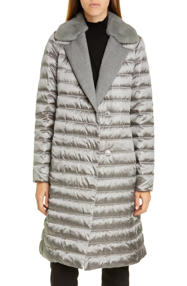 LAFAYETTE 148 NEW YORK Dorma Quilted Down Coat with Genuine Mink Fur Trim, Main, color, CAVE
