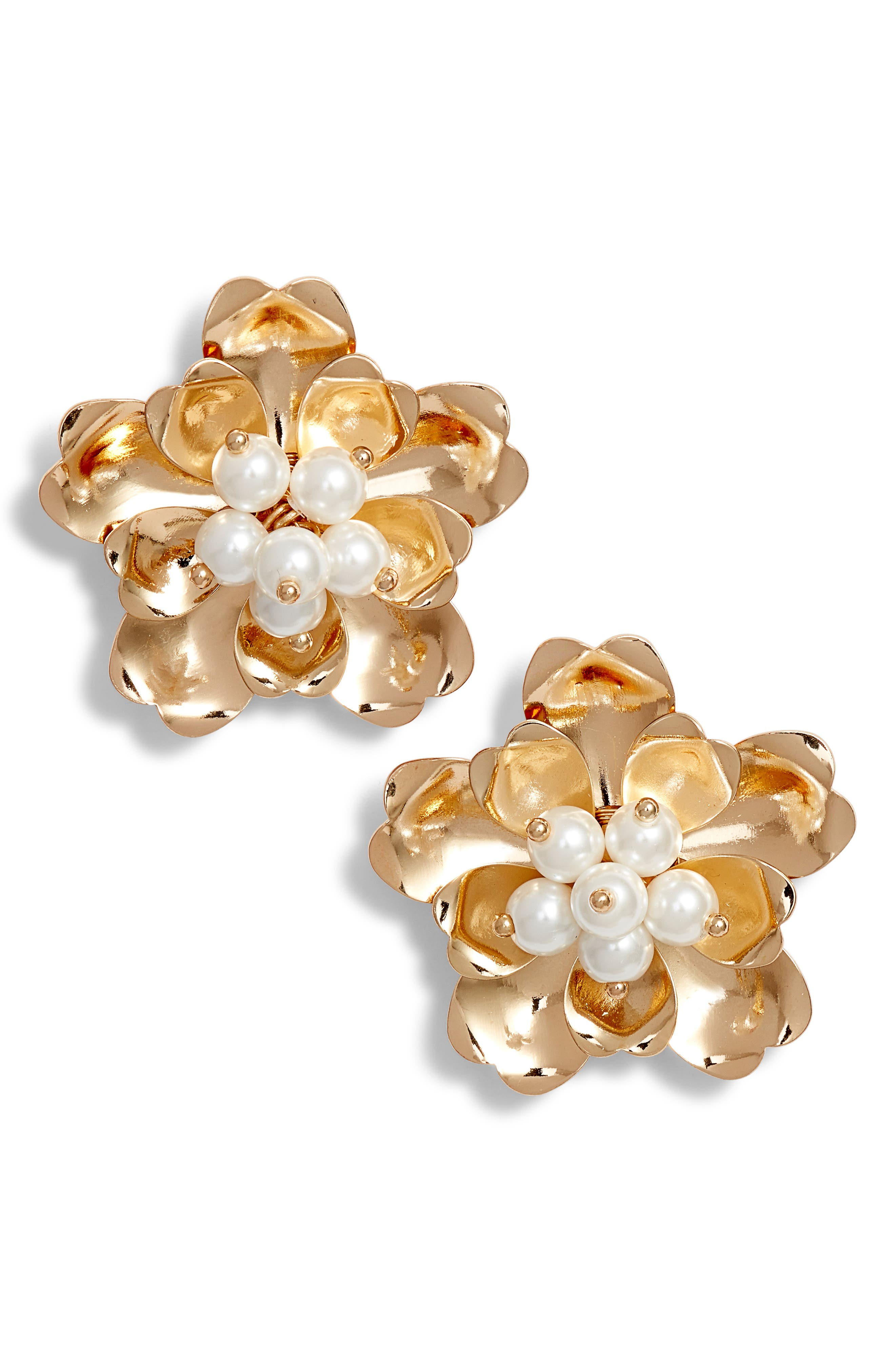 ,                             Dimensional Floral Stud Earrings,                             Main thumbnail 1, color,                             WHITE- GOLD