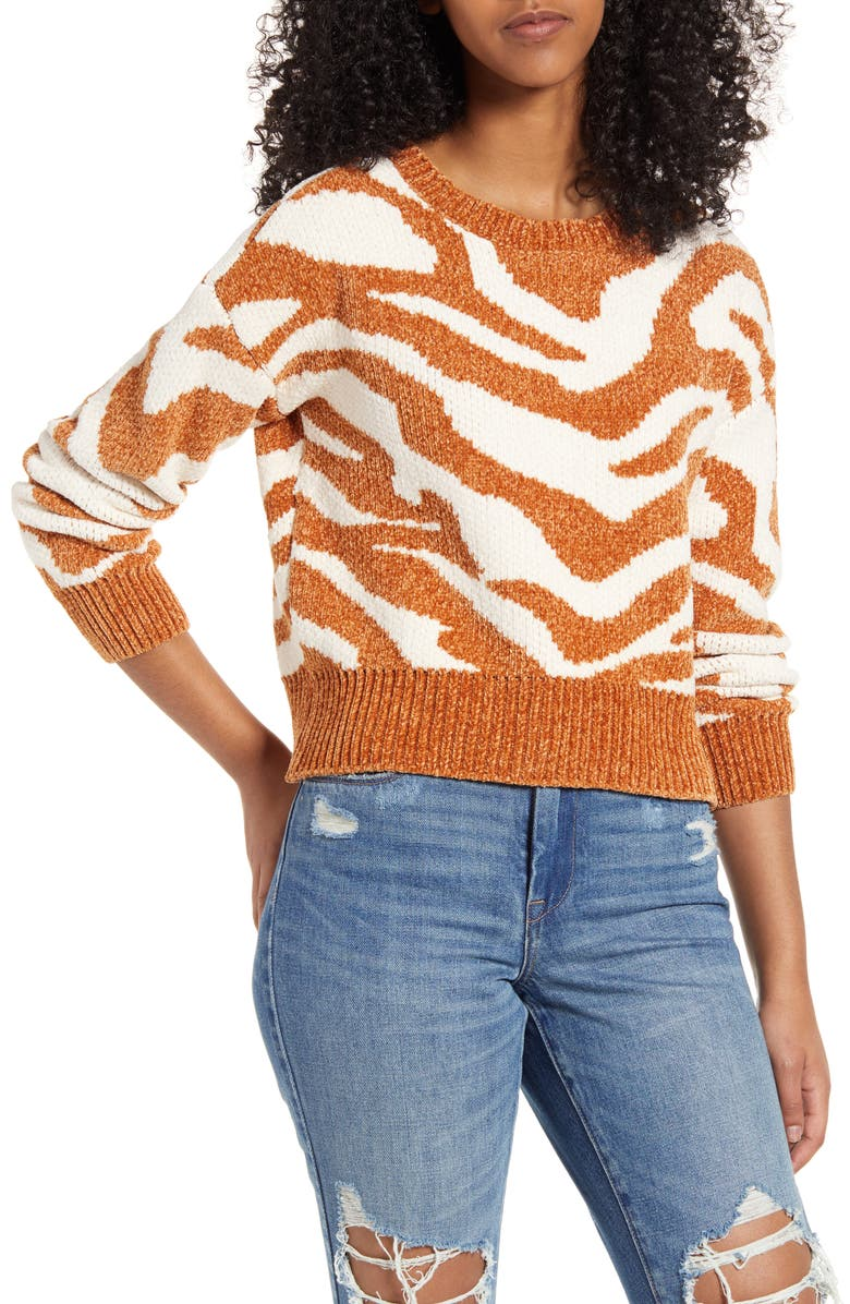 MINKPINK A Wild Winter Chenille Sweater, Main, color, 100