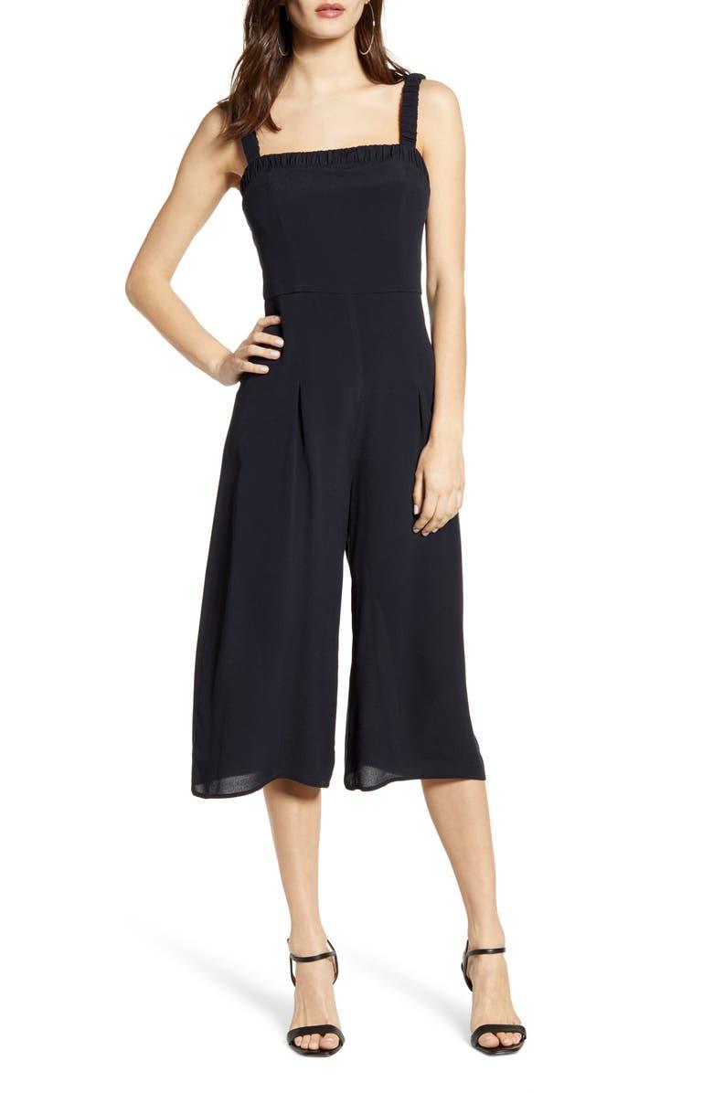 ROW A Shirred Strap Crop Jumpsuit, Main, color, BLACK