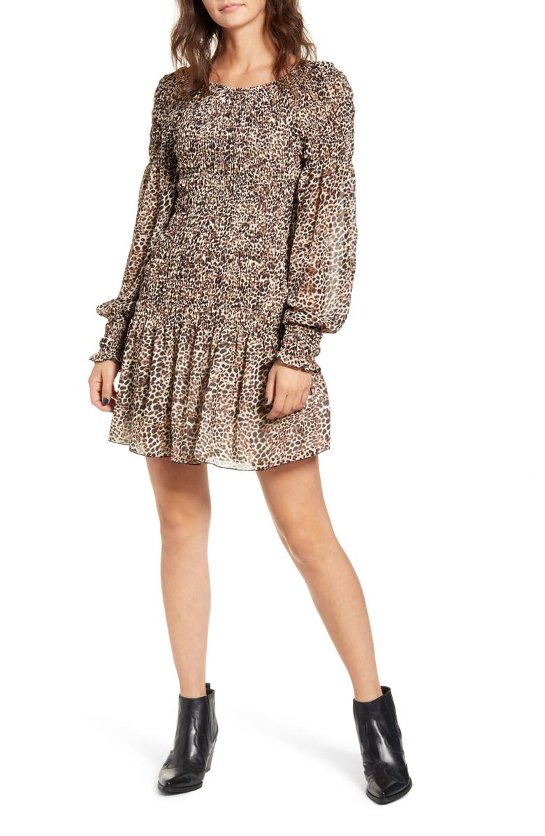 MINKPINK Up to You Long Sleeve Smocked Mindress, Main, color, 001