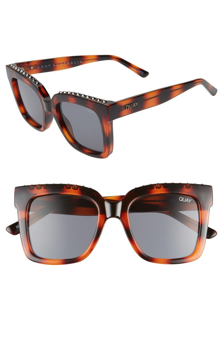 QUAY AUSTRALIA Icy 58mm Square Sunglasses, Main, color, TORTOISE STUD/ SMOKE