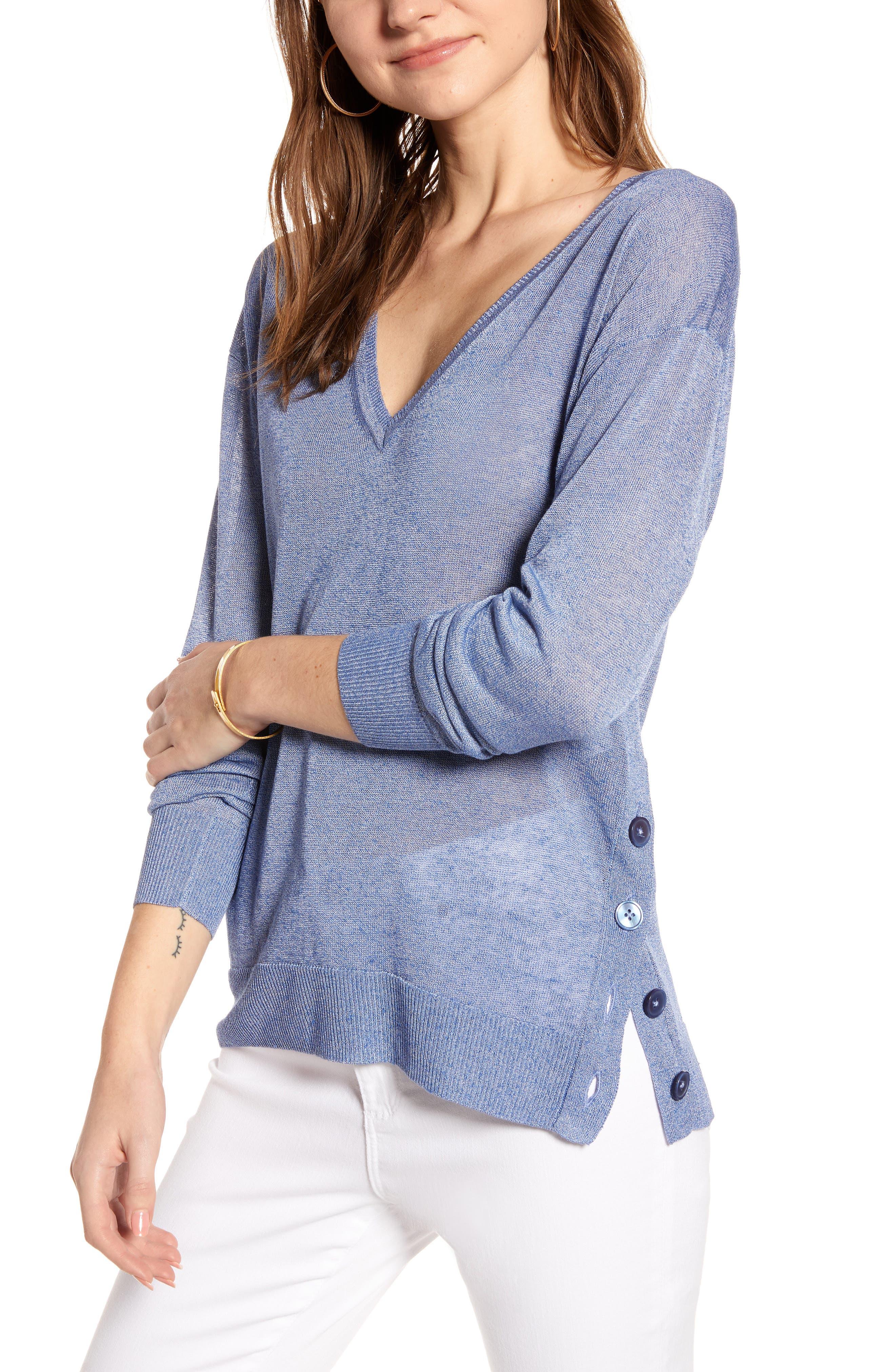 J.crew Side Button Linen Blend V-Neck Sweater, Blue