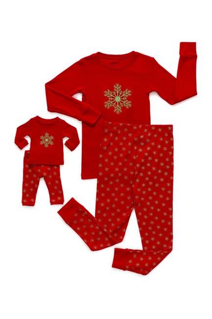 Image of Leveret Snowflake Pajama & Matching Doll Pajama Set