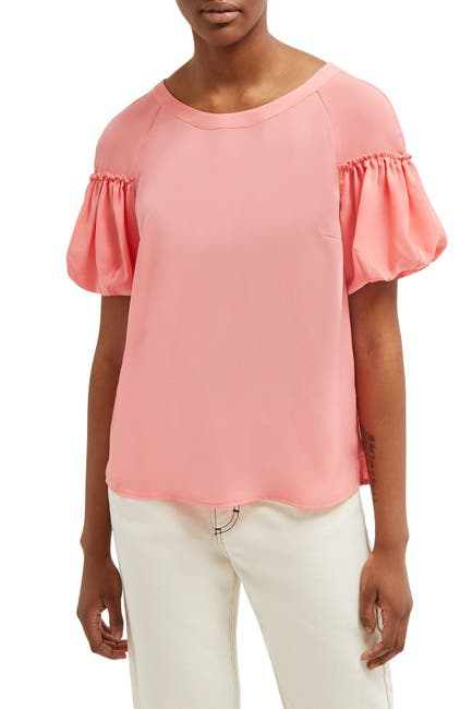 Image of French Connection Ruffle Short Sleeve Blouse