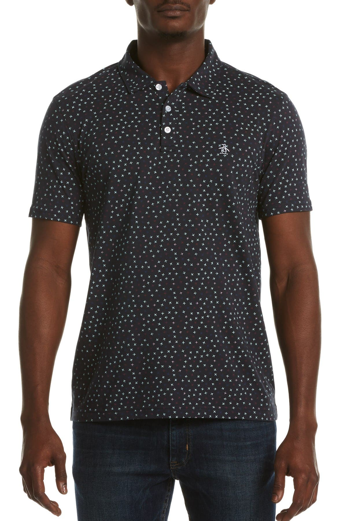 Image of Original Penguin Plane Print Slim Fit Jersey Polo