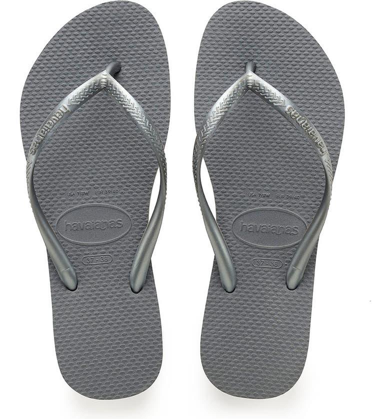 HAVAIANAS Slim Flip Flop, Main, color, STEEL GREY