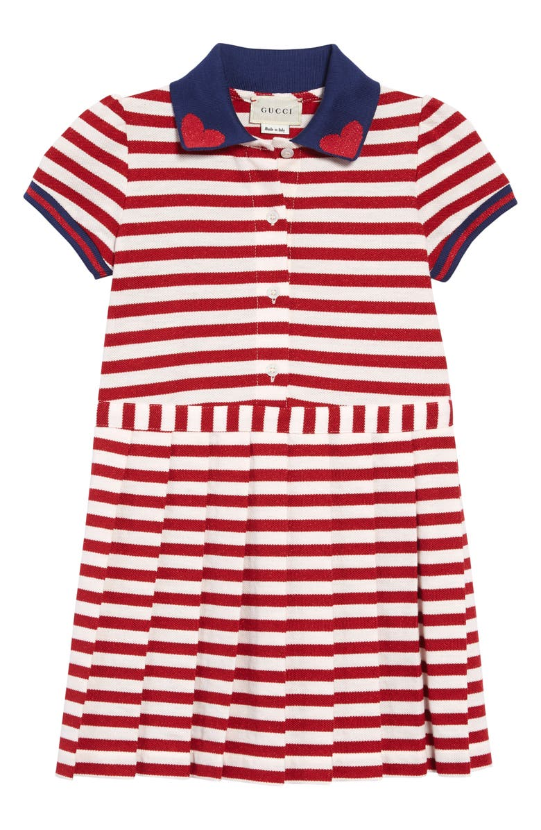GUCCI Metallic Stripe Polo Dress, Main, color, RED/ WHITE