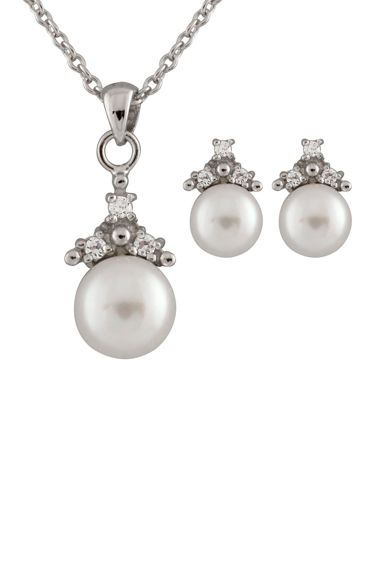 Image of Splendid Pearls 6.5-7mm White Freshwater Pearl & Triple CZ Necklace & Earrings Set