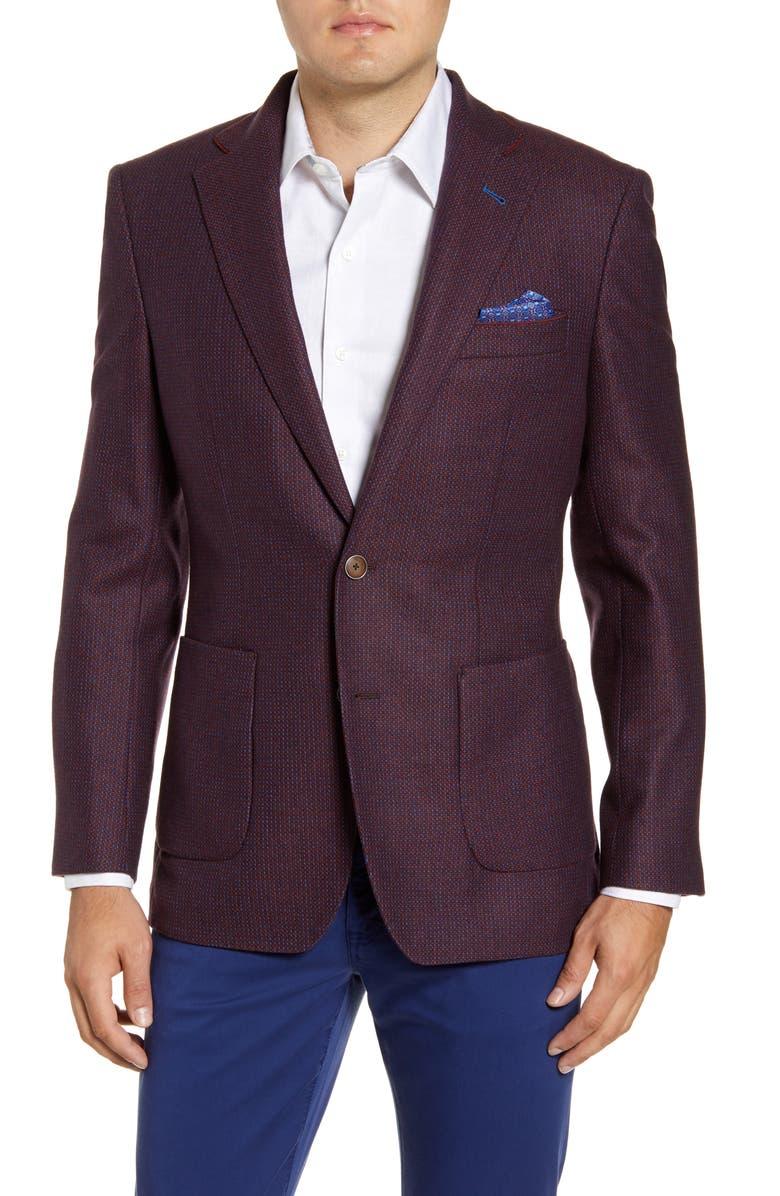 ROBERT GRAHAM Grapewin Regular Fit Sport Coat, Main, color, MERLOT