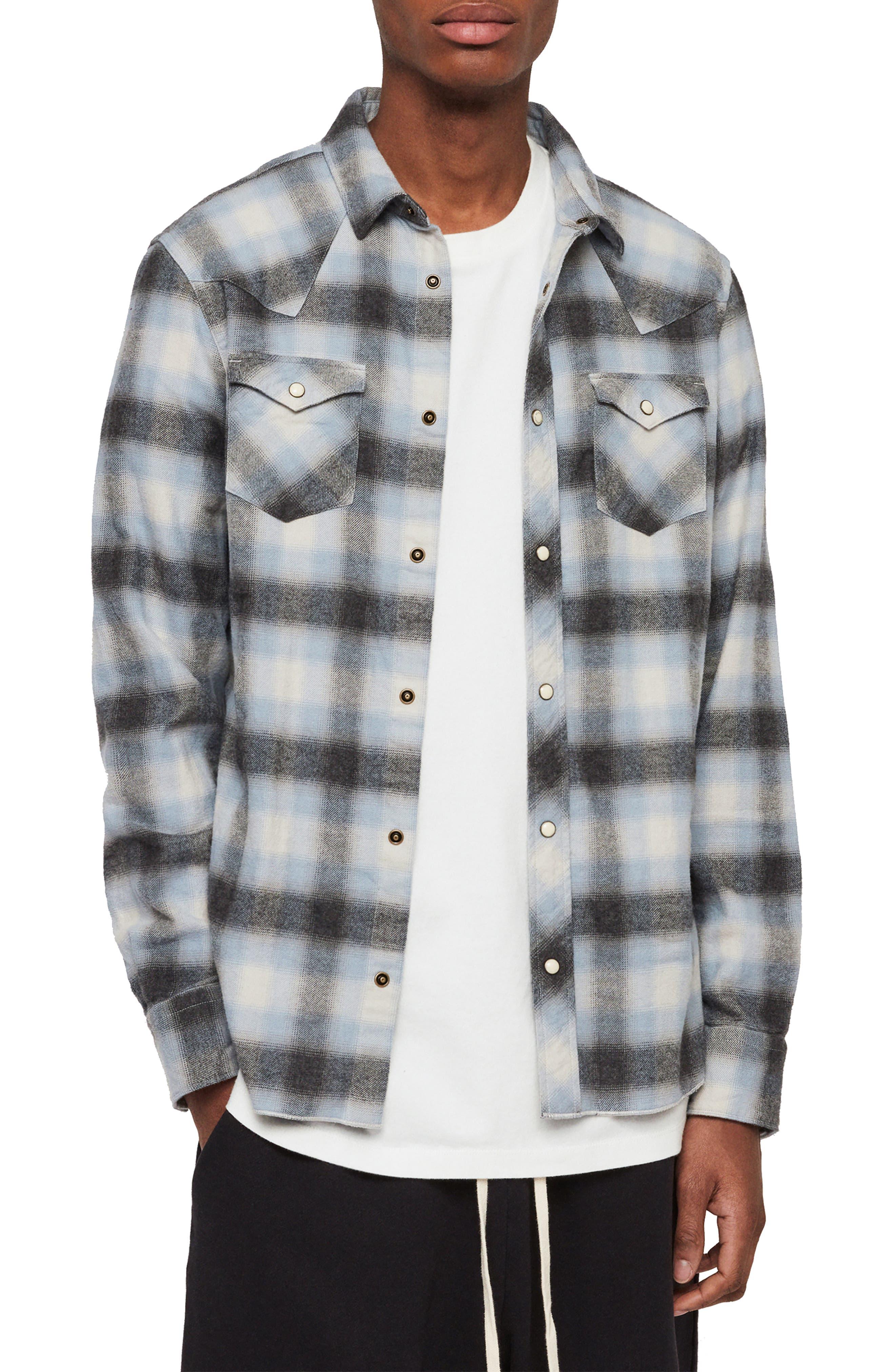 Allsaints Vinita Slim Fit Flannel Shirt, Black