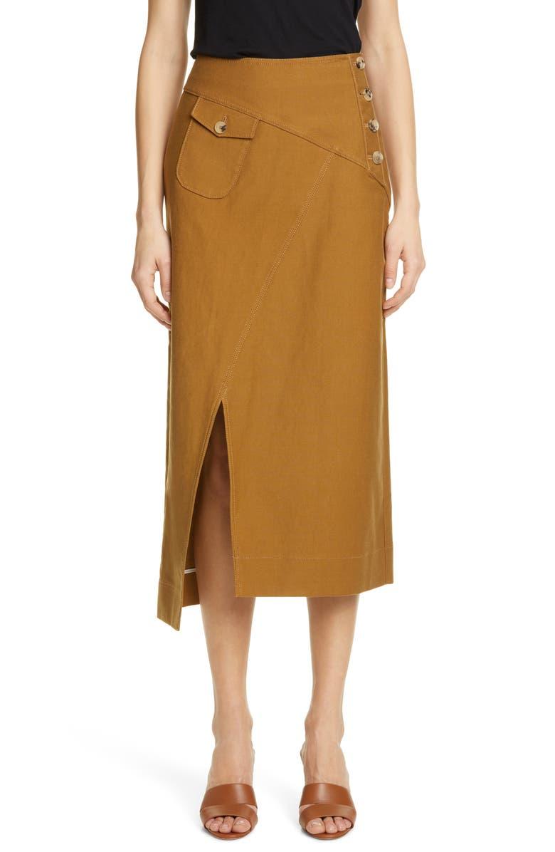 REJINA PYO Astrid Twill Midi Skirt, Main, color, CAMEL
