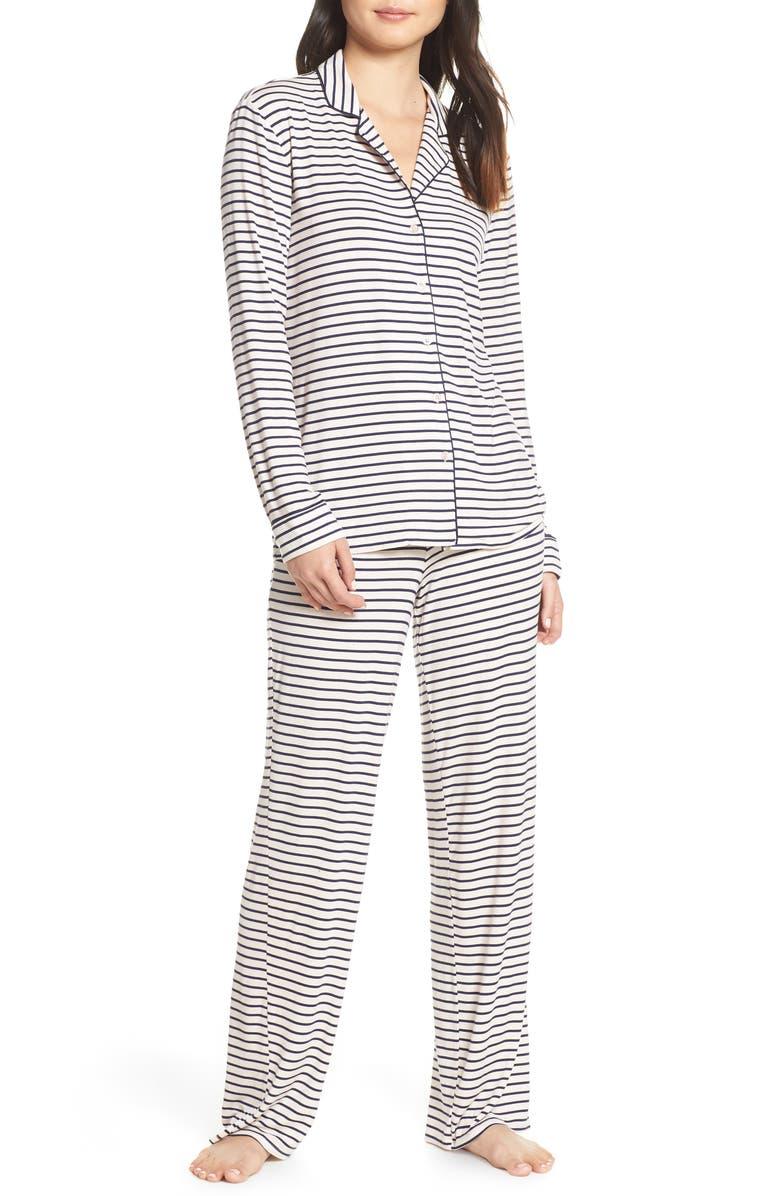 NORDSTROM LINGERIE Moonlight Pajamas, Main, color, PINK CRYSTAL LOVELY STRIPE