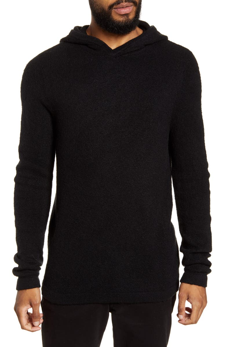 CALIBRATE Brushed Hooded Sweater, Main, color, BLACK