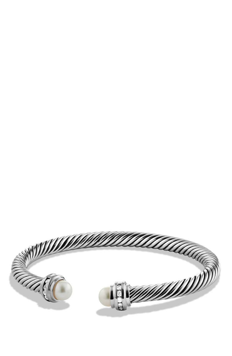 DAVID YURMAN Cable Classics Bracelet with Semiprecious Stones & Diamonds, 5mm, Main, color, SILVER