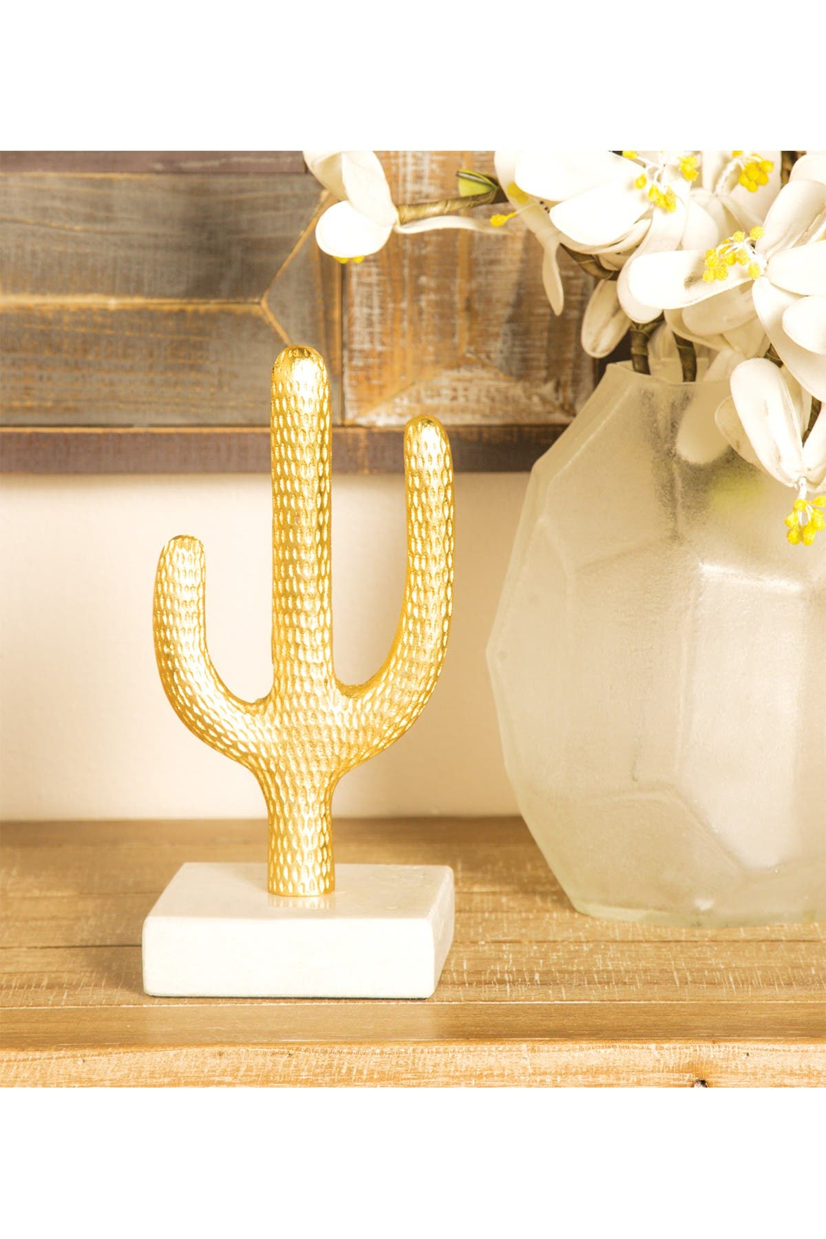 Image of CosmoLiving by Cosmopolitan Small Metallic Gold Cactus Sculpture Table Decor on White Marble Base