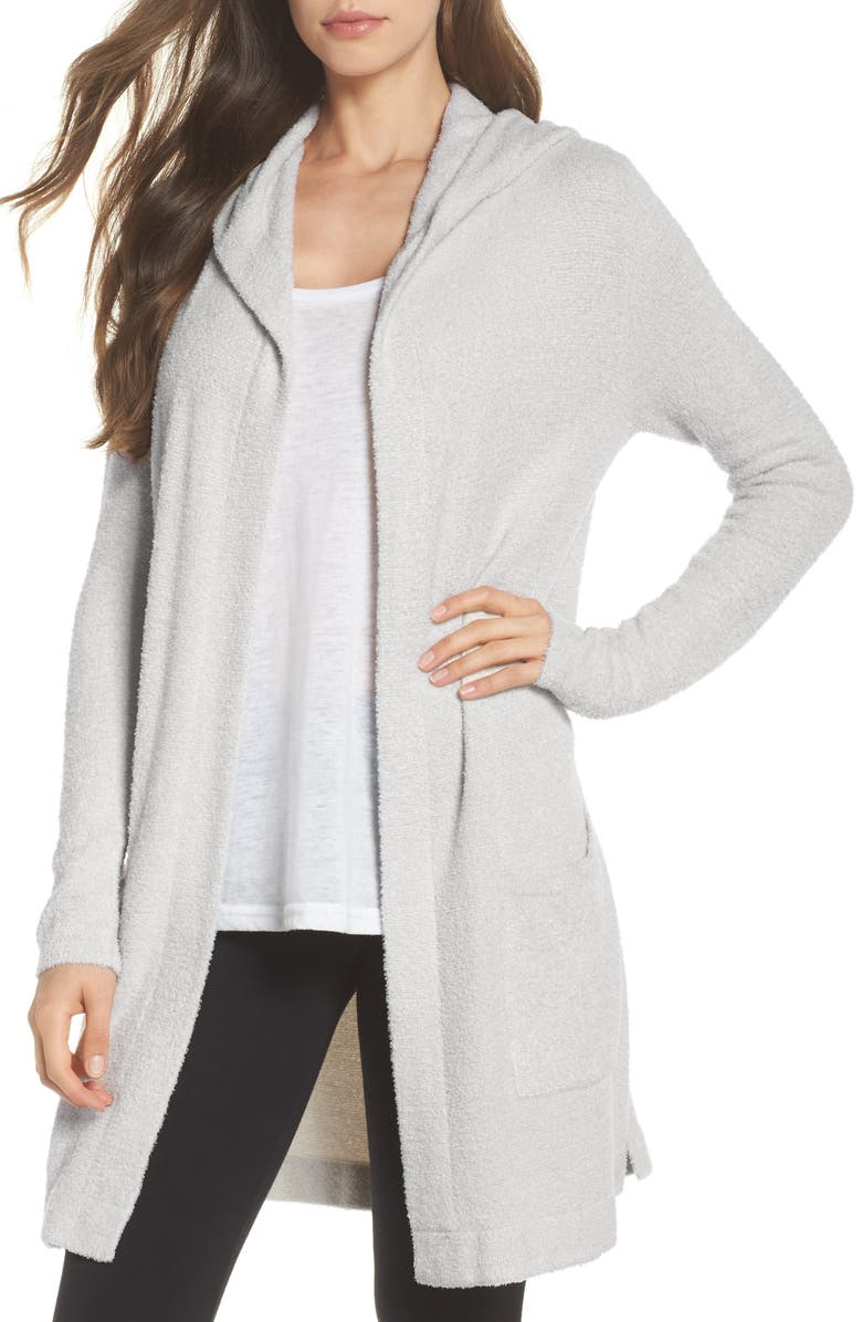 BAREFOOT DREAMS<SUP>®</SUP> Cozychic Lite<sup>®</sup> Coastal Hooded Cardigan, Main, color, SILVER/ PEARL HEATHER