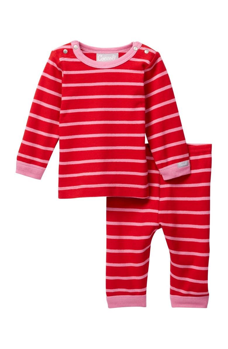 COCCOLI Striped Top & Pant Set, Main, color, CRANBERRY / BEGONIA
