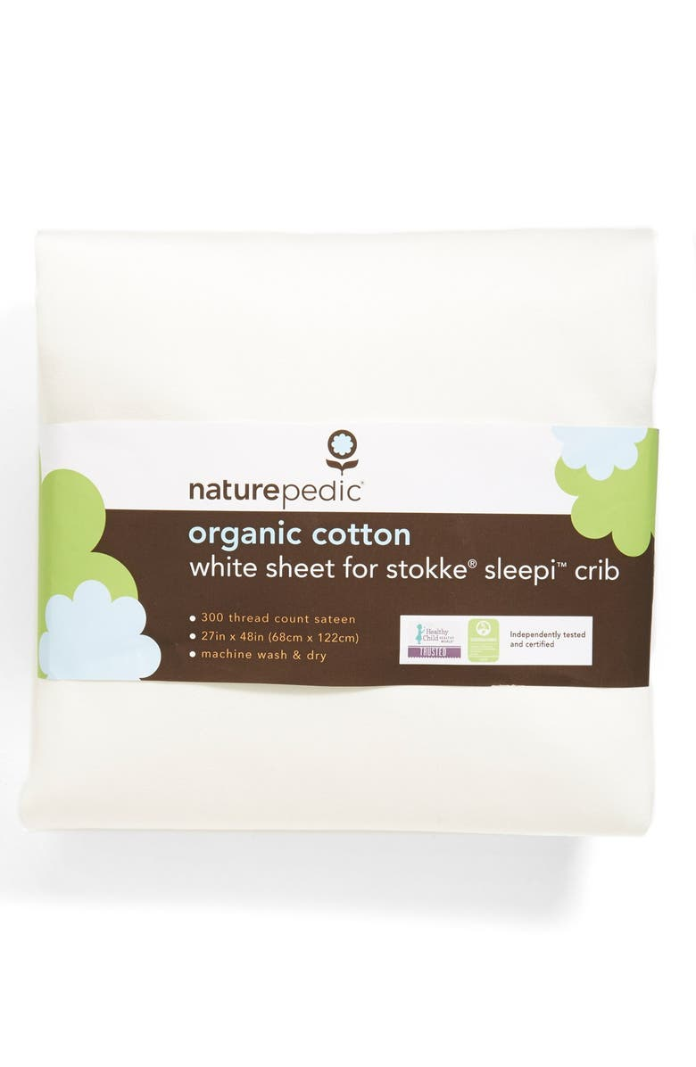 NATUREPEDIC 300 Thread Count Organic Cotton Oval Crib Sheet for Stokke Sleepi Crib, Main, color, WHITE