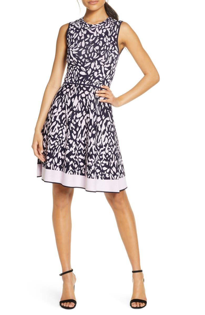 ELIZA J Print Sleeveless Fit & Flare Sweater Dress, Main, color, PINK