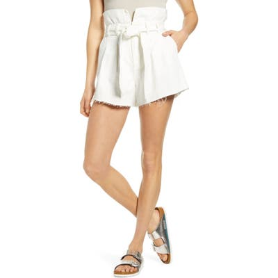 Blanknyc Paperbag Waist Belted Shorts, White