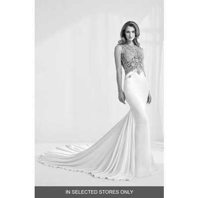 Atelier Pronovias Ramir Jeweled Bodice Crepe Mermaid Gown, Size IN STORE ONLY - Ivory