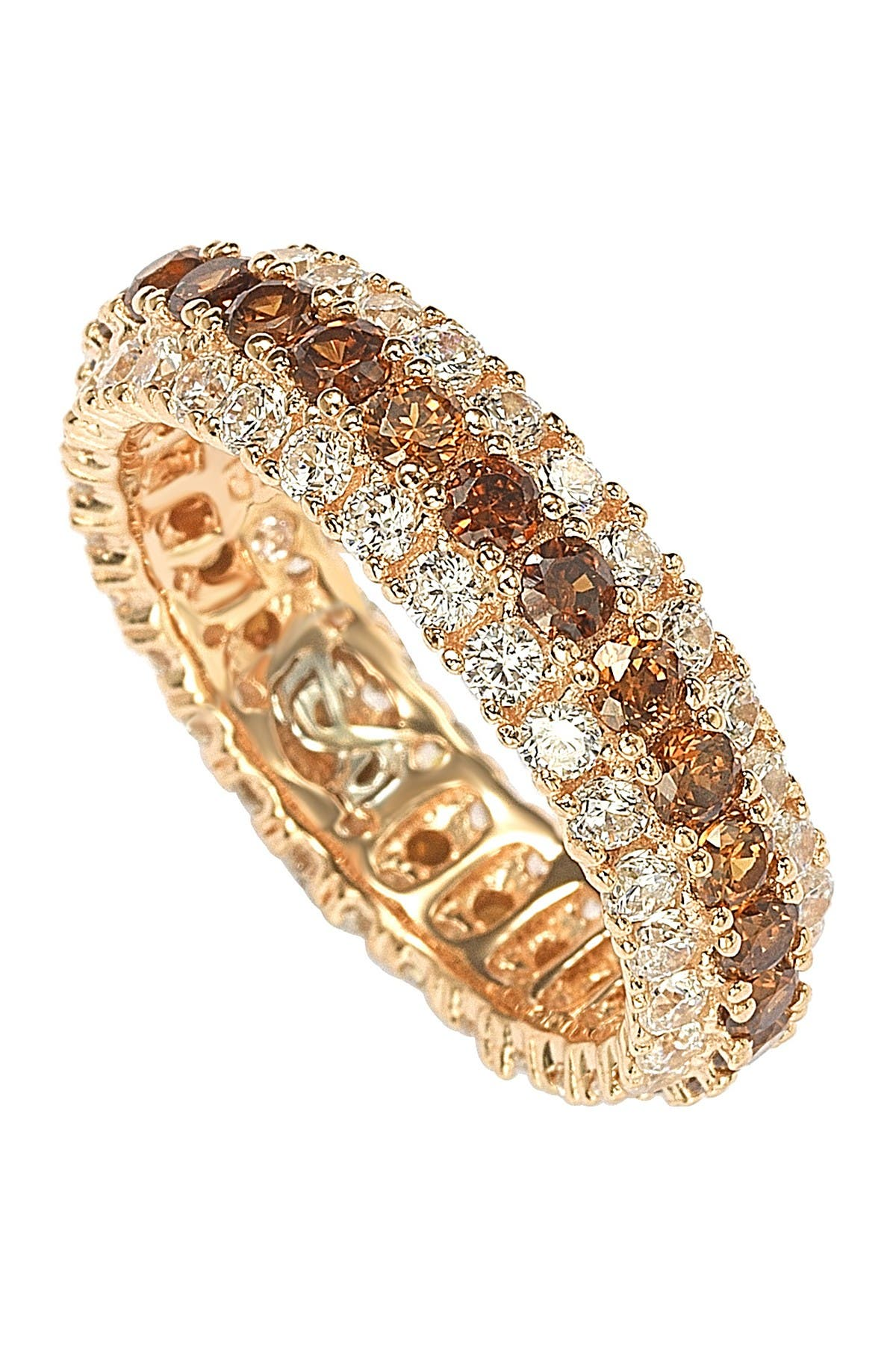 Image of Suzy Levian Rose-Tone Sterling Silver Brown & White CZ 3 Row Eternity Band