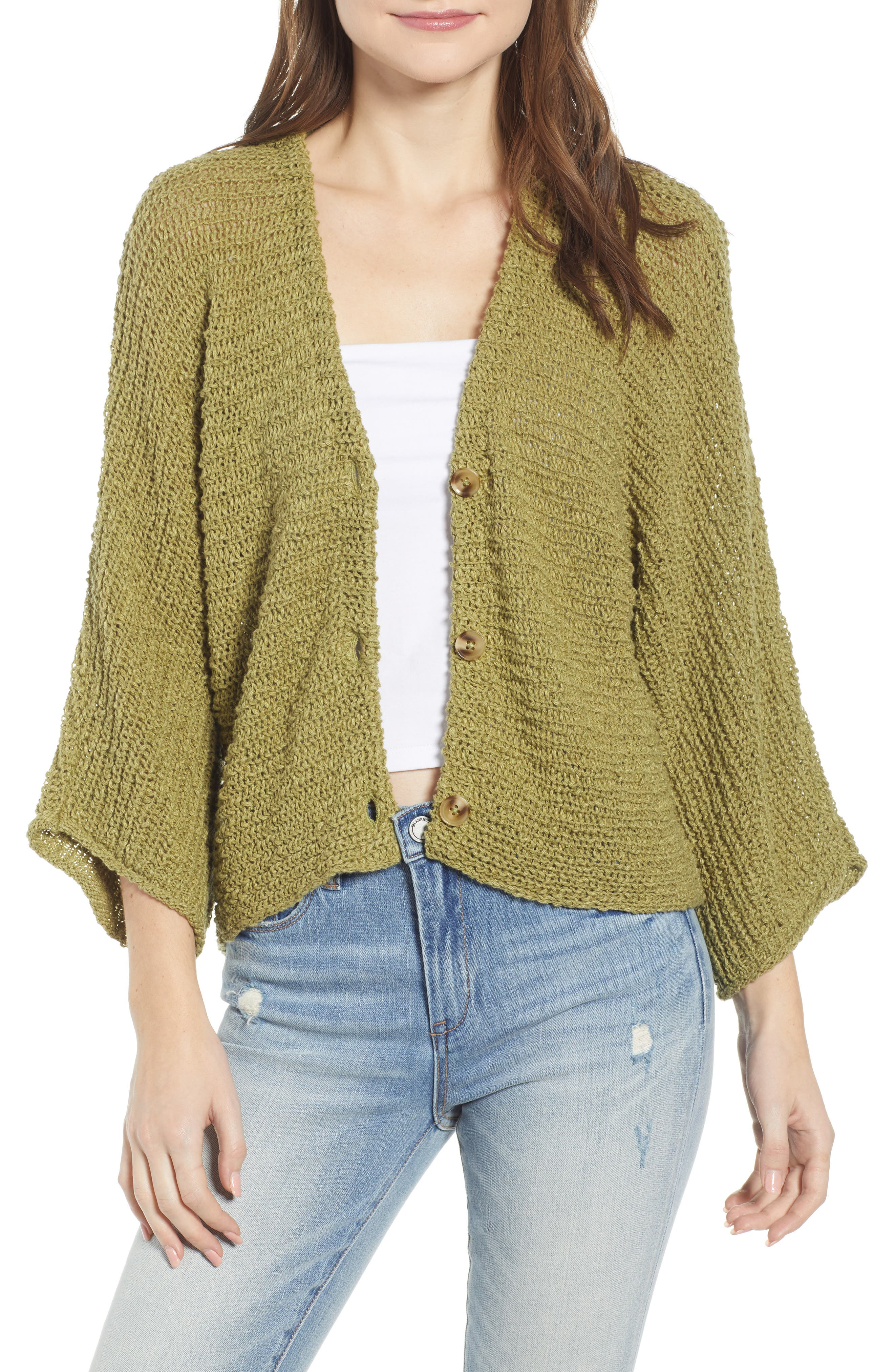 Dolman Sleeve Button Front Cardigan, Main, color, OLIVE EMERALD