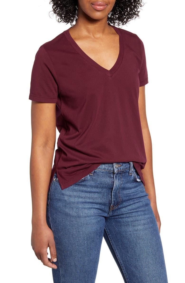 LOU & GREY Soho V-Neck T-Shirt, Main, color, POISED PLUM
