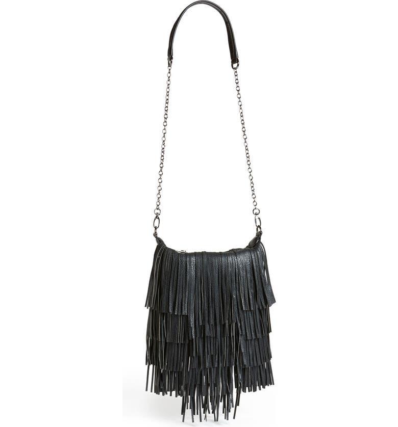 STEVE MADDEN 'Bmocha' Fringe Crossbody Bag, Main, color, 001