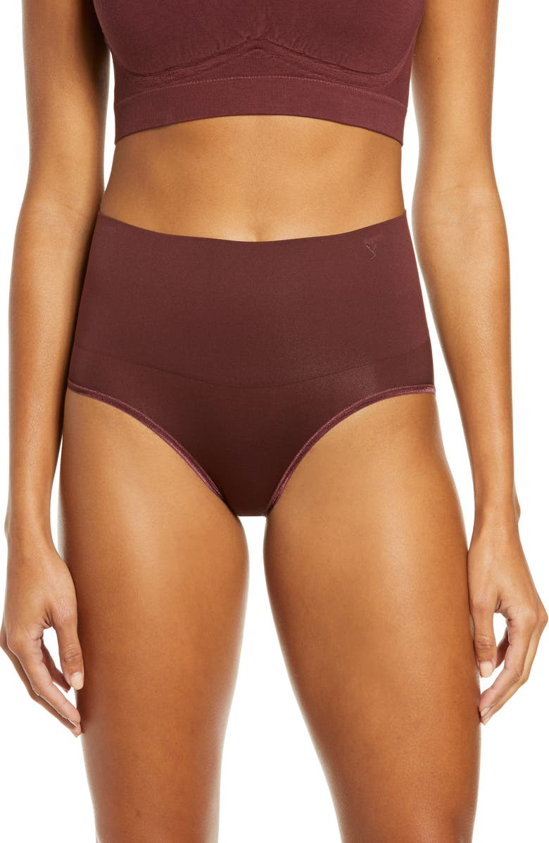 YUMMIE Ultralight Seamless Shaping Briefs, Main, color, DECADENT CHOCOLATE