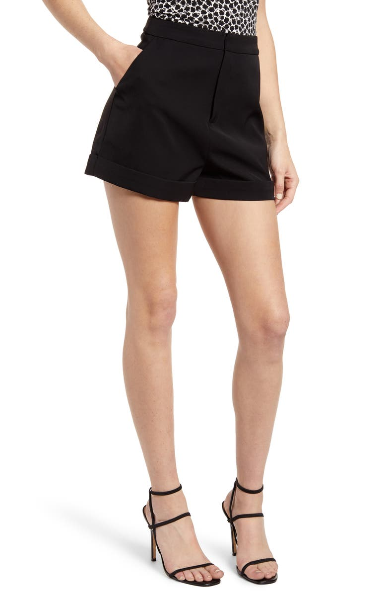 ENDLESS ROSE High Waist Tailored Shorts, Main, color, BLACK